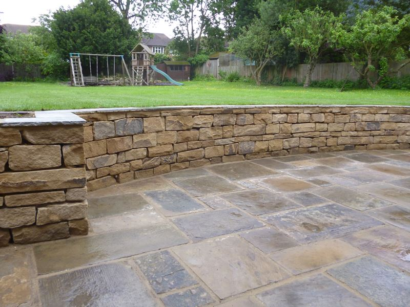 Reclaimed York Stone + Retaining Wall Dulwich