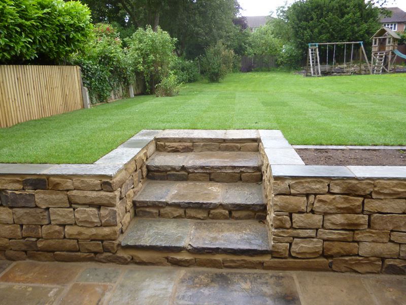 Reclaimed York Stone + Retaining Wall Dulwich